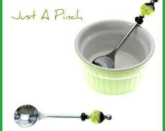 Beadable Jelly Spoon & Lime Green Salt Pinch Bowl