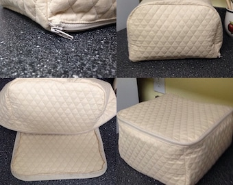 Khaki Zipper 4 Slice Toaster Cover Quilted Fabric Kitchen Small Appliance Cover Ready to Ship