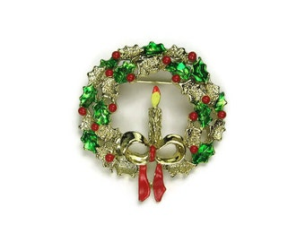 Gerry's Christmas Wreath Brooch