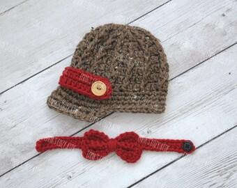 Crochet newsboy hat, baby newsboy hat, newborn photo prop, newsboy outfit, baby boy clothes, brim hat, crochet bow tie, newsboy set