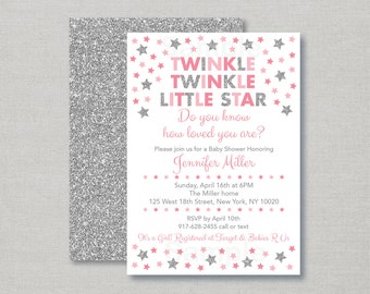 Twinkle Twinkle Little Star Baby Shower Invitation / Twinkle Star Baby Shower Invite / Silver Glitter Star / Pink & Silver / PRINTABLE A150