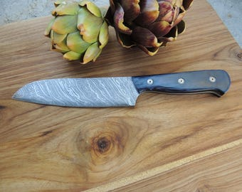 Custom Damascus Santoku Knife