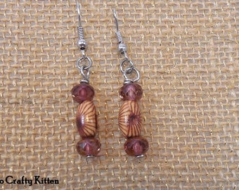 Pretty Wooden and Dusky Pink Crystal Drop Earrings