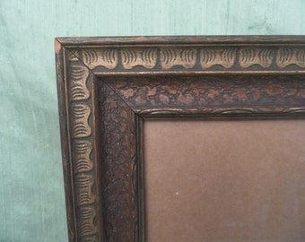 Carved wood frame / vintage empty picture frame with glass brown gold