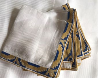 DAMASK Table Cloth Napkin Set White Blue Gold Accent Hand Made in Germany