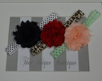 Set of Three...Baby Girl Headbands...Red, Black and Peach...Photography Props...Shabby Rosettes...Baby Girl Headbands...Polka Dot...Leopard