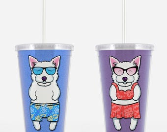Westie Beverage Tumbler - West Highland Terrier Gift - Choose from boy or girl - choose from four background colors