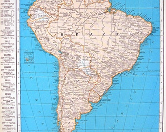 Map of Cuba, Map of South America - 1936 Vintage Map from World Atlas 11 x 14