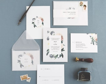 Mae Wedding Invitation & Correspondence Set / Botanical Floral Invitation / Sample Set