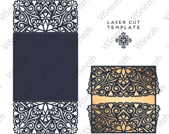 Laser cut Template. Wedding invitation template, Gift, Letter, etc. EPS SVG DXF cutting files, Silhouette Cameo, Cricut