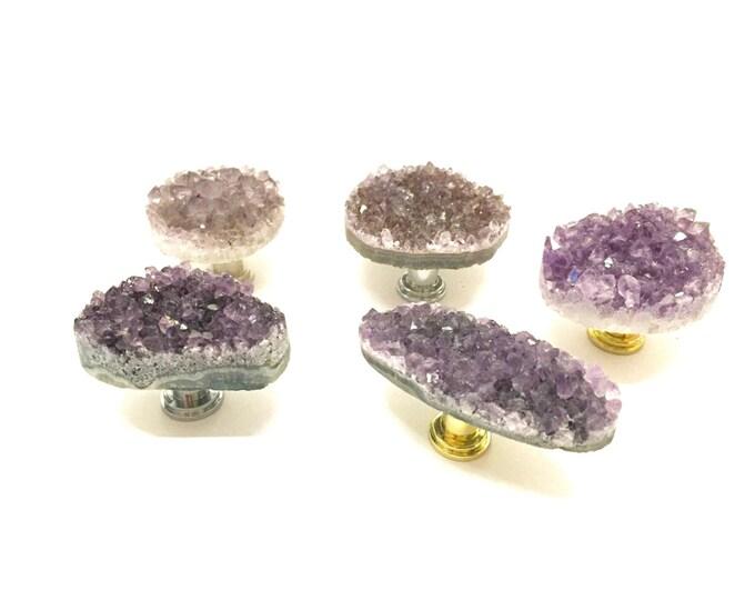 Amethyst Geode Knob--Light Amethyst