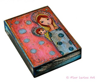 Young Madonna  - ACEO Giclee print mounted on Wood (2.5 x 3.5 inches) Folk Art  by FLOR LARIOS