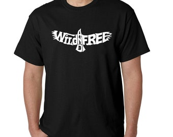 Men's T-shirt - Word Art - Created Using the Words Wild and Free
