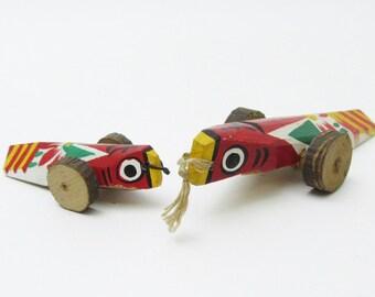 Pair small Kijiguruma.Vintage Japanese Folk Art.Local craft.#fa80.msjapan