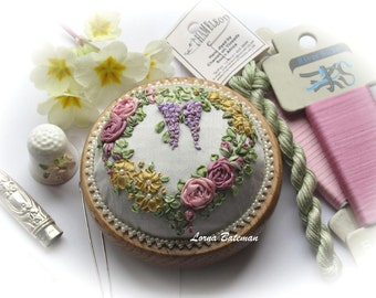 Silk Ribbon - PP09V Victorian Roses and Wisteria Pincushion - Full kit