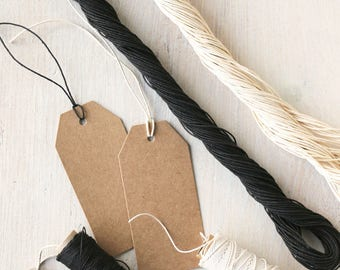 Paper String - Black or Ivory | Twisted Paper Twine for Craft & Gift Wrap | 30 metres