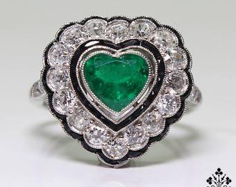 Antique Art Deco Platinum 1.40ct. Diamond – onyx & 1ct. Emerald Ring