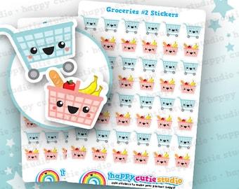 48 Cute Groceries 2/Shopping/Food Planner Stickers, Filofax, Erin Condren, Happy Planner,  Kawaii, Cute Sticker, UK