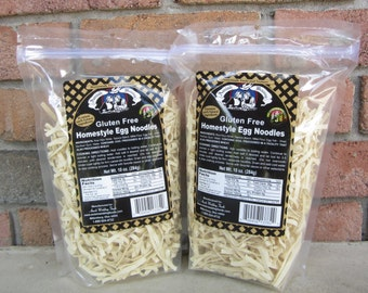 Amish Wedding Foods Old Fashioned Homestyle GLUTEN FREE Egg Noodles 10 oz - TWO Bags