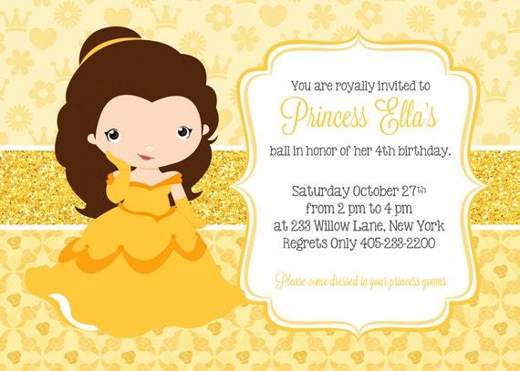 Princess belle invitation princess party invitation princess filmwisefo