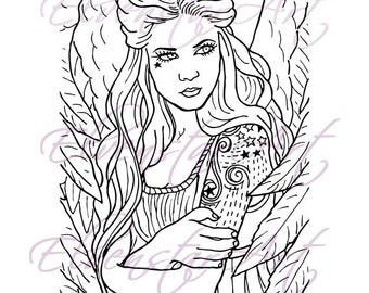 DIGI Stamp Printable Scrapbooking Card Making Crafts Fantasy Gothic Angel tattoos Digital Stamp Download Coloring