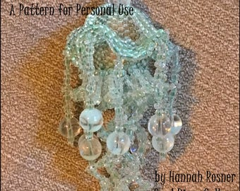 NEWLY RELEASED - Jellyfish Pendant Beading Pattern - Glows in the Dark - Peyote Stitch Bead Woven tutorial instructions - Hannah Rosner