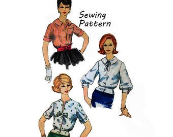 Simplicity 3275 Woman's Peplum Blouse or Overblouse Sewing Pattern Sz 16 Bust 36in /91cm Vintage 1960s