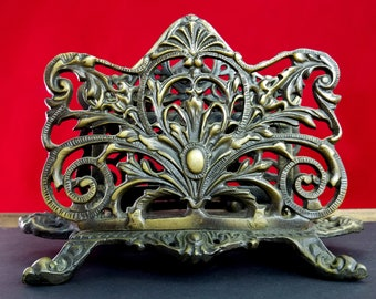 Art Nouveau Ornate Brass Letter Napkin Holder