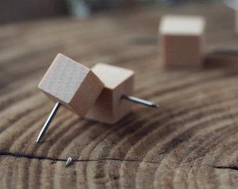Wooden Thumbtacks Cork Board Pins Square Pushpins Thumbtacks