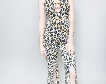 Vintage 1990's Leopard Print Cut Out Flared Leg Jumpsuit