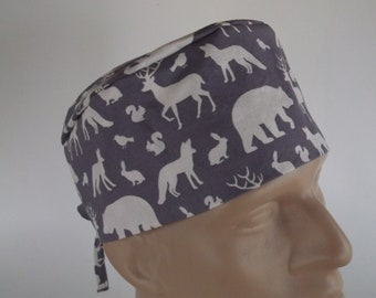 Wildlife -  Men's Surgical Scrub Hat with sweatband option - scrub cap, bakers hat, 29-450