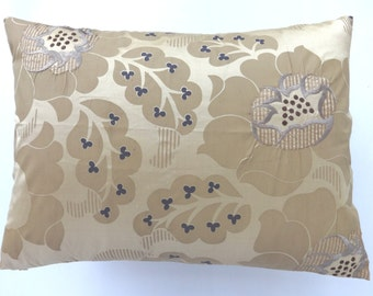 Bsige silk pillow cover with gray and  cream flowel embroidery. Decorative  dupioni silk pillow cover lumbar pillow 12 x20 12x16 and 16x16