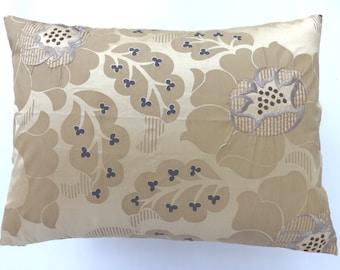 Bsige soie taie d'oreiller avec broderie flowel gris et crème. Oreiller lombaire de la housse coussin soie dupioni décoratif 12 x20 12 x 16 et 16 x 16