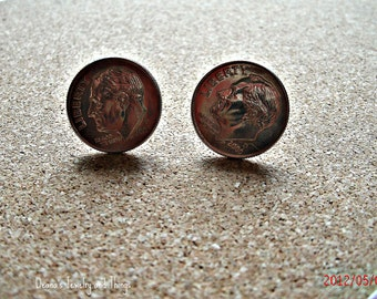 Dime Earrings - Dime Studs - Dime Button Earrings - Dime - 10  cent  - Studs - Button Earrings - Unisex Jewelry - Men Jewelry - Studs