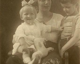 "Vintage Real Photo Postcard ""Mother of Two"" Children Family Antique RPPC Photo Black & White Photograph Old Paper Ephemera Vernacular - 126"