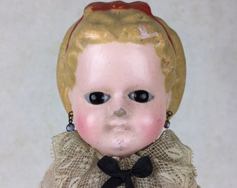 Antique wax-over doll, wax over papier mache doll