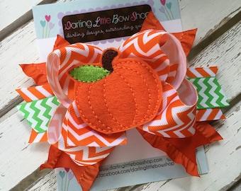 Pumpkin Bow -- Halloween Bow -- Pretty Little Pumpkin -- orange and green chevron print with large pumpkin center -- optional headband