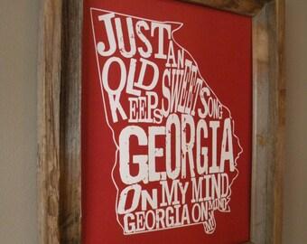 Red Georgia On My Mind Map Print - Unframed