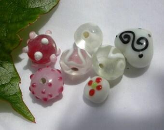 set of 7 beads murano style glass