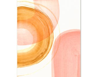 Modern Abstract Art Print. Minimalist Wall Art. Blush & Gold Abstract Painting. Living Room Art. Modern Decor. Watercolor Abstract Art Print