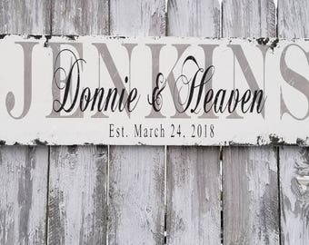FAMILY NAME SIGN | Established Sign | Wedding Name Sign | Personalized Sign | Last Name Sign | Shabby Chic Sign | Distressed Sign | Rustic