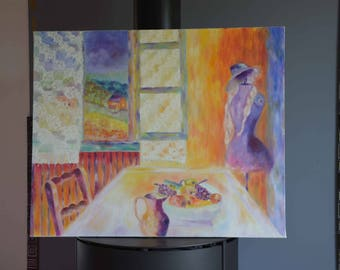 The oil paint Sun D ' was in the South of France the mannequin still life 60 cm 73 cm, Impressionist wall art, canvas painting