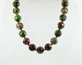 Minimalist Style (1970-Present) Sterling Silver Gold Plate Zoisite and Ruby Beaded Necklace