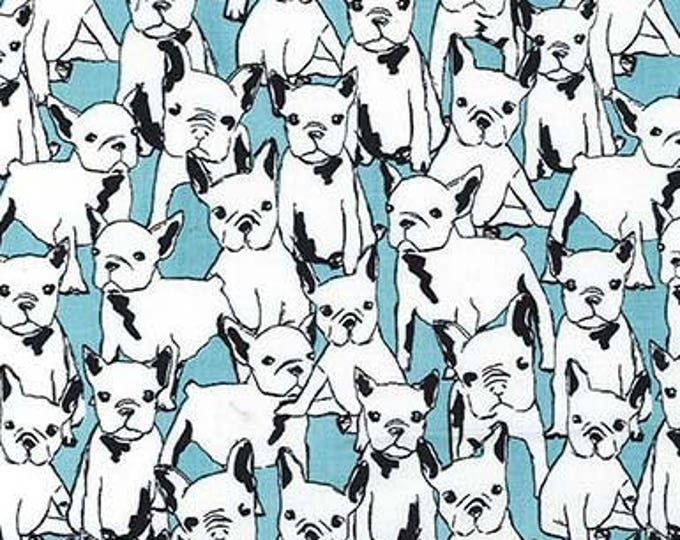 Cats & Dogs by Michael Miller - Lil' Doggie Aqua - Cotton Woven Fabric