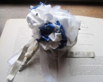 Vintage Fabric Flower Bouquet * Bridesmaid Bouquet * Wedding Bouquet