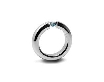 Blue Topaz Tension Set Ring Stainless Steel