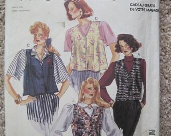 UNCUT Misses' Vest - McCalls Pattern 0021 - Vintage 1989