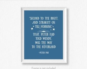 Peter Pan quote / Second star / Neverland Art / Book themed nursery / Peter Pan poster /
