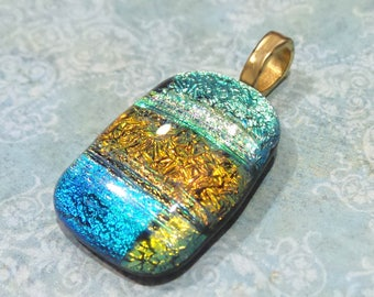 Dichroic Pendant, Fused Glass Pendant Slide, Aqua Blue, Orange, Green, Gold, Ready to Ship, Fused Glass Jewelry - People United -3228