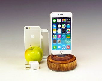 Docking station for ANY iPhone. Includes wall charger. 729. Reclaimed log slice. Live edge. FAST shipping.
